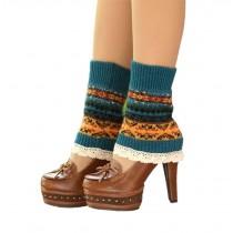 Women's Short Boots Socks Knitted Boot Cuffs Ladies Leg Warmers Socks Lace Edge, Blue