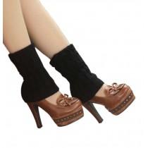 Women's Short Boots Socks Knitted Boot Cuffs Ladies Leg Warmers Socks, Pierced Style Black