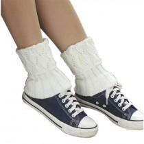 Women's Short Boots Socks Knitted Boot Cuffs Ladies Leg Warmers Socks, Pierced Style White