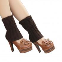 Women's Short Boots Socks Knitted Boot Cuffs Ladies Leg Warmers Socks, Pierced Style Coffee