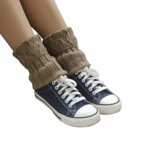 Women's Short Boots Socks Knitted Boot Cuffs Ladies Leg Warmers Socks, Pierced Style Khaki