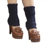Women's Short Boots Socks Knitted Boot Cuffs Ladies Leg Warmers Socks, Pierced Style Dark Blue