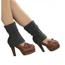 Women's Short Boots Socks Knitted Boot Cuffs Ladies Leg Warmers Socks, Pierced Style Dark Gery