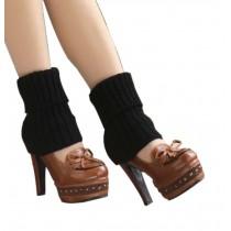 Women's Short Boots Socks Knitted Boot Cuffs Ladies Leg Warmers Socks, Black Stripe Pattern