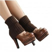 Women's Short Boots Socks Knitted Boot Cuffs Ladies Leg Warmers Socks, Coffee Stripe Pattern