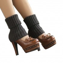 Women's Short Boots Socks Knitted Boot Cuffs Ladies Leg Warmers Socks, Deep Grey Stripe Pattern