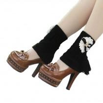 Women's Short Boots Socks Knitted Boot Cuffs Ladies Leg Warmers Socks, Fringed Black
