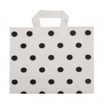 White Polka Dot - 48 Pieces Plastic Shopping Bags Boutique Bags Retail Tote Bag