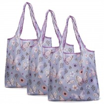 Butterfly - 3 Pieces Reusable Grocery Bags Boutique Shopping Bags Portable Tote Bags Foldable Carry Bags
