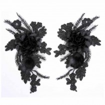 One Pair Black Rose Feather Applique Patch DIY Dress Decoration Embroidered Appliques 3D Floral Applique