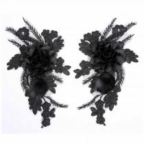 One Pair Black Rose Feather Applique Patch DIY Dress Decoration Embroidered Appliques 3D Floral Applique