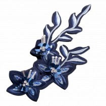 1 Piece Blue Flower Embroidered Applique DIY Sequin Applique Patch Beaded Rhinestone Sew on Applique