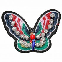 3 Pcs Colorful Butterfly Embroidered Applique Handmade Decoration Patches DIY Beaded Rhinestone Applique