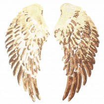One Pair Gold Angel's Wings Sequin Applique Patch DIY Embroidered Applique Bling Bling Wings for Jackets