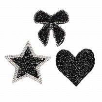 3 Pcs Random Pattern Black Sequin Embroidered Applique Handmade DIY Beaded Rhinestone Applique Patch