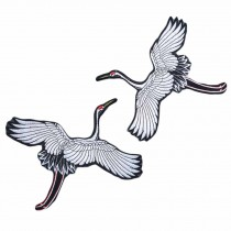 One Pair Black and White Chinese Style Crane Embroidered Applique Flying Birds DIY Clothing Decoration Applique Patch