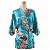 Turquoise -Women's Silk-like Pajamas Short Bathrobe Kimono Robe Peacock/Blossoms