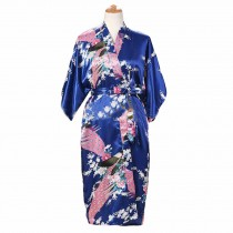 Royal Blue -Peacock/Blossoms Women's Long Bathrobe Kimono Robe Silk-like Pajamas