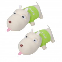 Set of 2 Lovely Dog Bamboo Charcoal Doll - Air Purifying Bag,Green(NO.02)