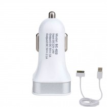 Dual USB Car Charger Designed for Apple/Android Devices(Included Iphone4 Cable)