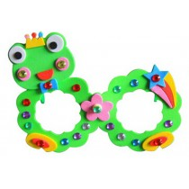 Set of 3 EVA Sticker Easy Crafts for Kids DIY Colorful Glasses(Cute Frog)