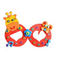 Set of 3 EVA Sticker Easy Crafts for Kids DIY Colorful Glasses(Cute Giraffe)