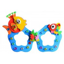 Set of 3 EVA Sticker Easy Crafts for Kids DIY Colorful Glasses(Cute Fish)