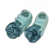 [Green] Baby Socks Flower Anti-slip Socks for Baby Girls, 2 Pairs
