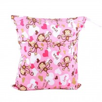 "Monkey Wet Bags Waterproof Diaper Bag Multi-function Nappy Bag -14""*11"" Pink"