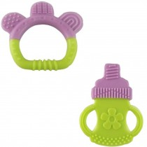 PURPLE Newborn Infant Training Teeting Baby Toddler Relieving Teether Set of 2