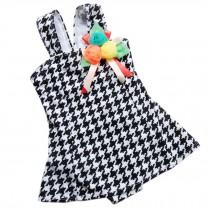 Cute Baby Girls Black Tartan Beach Suit Lovely Swimsuit 2-3 Years Old(90-100cm)