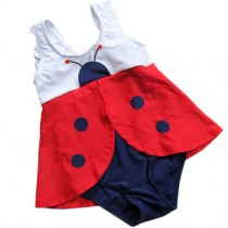Cute Baby Girls Red Beetle Beach Suit Lovely Swimsuit 2-3 Years Old(90-100cm)