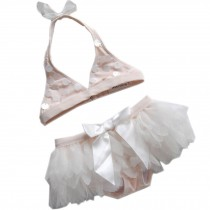 Cute Baby Girls Sequin Bikini Beach Suit Lovely Swimsuit 0-2 Years Old(75-85cm)