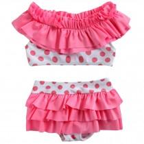Cute Baby Girls Pink Bikini Beach Suit Lovely Swimsuit 1-2 Years Old(80-90cm)
