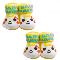 YELLOW Cotton Baby Newborn Shocks Infant Anti Skid Slip Toddler Shoes 2 Pack