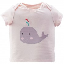 Whale Pure Cotton Infant Tee Baby Toddler T-Shirt LIGHT PINK 100 CM (16-30M)