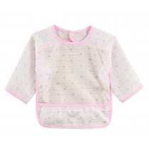 Waterproof Silk Sleeved Baby Bib Baby Feeding Smock PINK, 0-2 Years