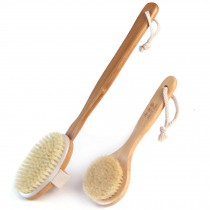Durable Bamboo Detachable Bristles Body Brush Long Handle Bath Brush, 2 PCS