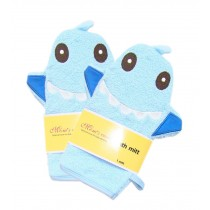 [Set of 2] Durable Soft Cute Baby/Kids Bath Sponge/Mitt/Gloves, Blue Shark