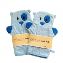 [Set of 2] Durable Soft Cute Baby/Kids Bath Sponge/Mitt/Gloves, BLUE Dogs