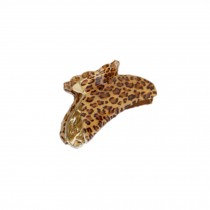 [Set Of 3] Fashion Leopard Large Jaw Clip Hair Styling Claws, 3.7 inches, KHAKI