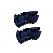 [Set Of 2]Handmade Mesh Bowknot Jaw Clip Hair Styling Claws, 3.7 inches, NAVY