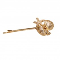 Set of 3 Lovely Chic [Gold Conch] Hair Pins Decorative Side Hair Clips (2.4'')