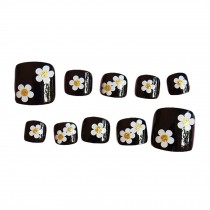 Flower Black Short Artificial False Nails Tips False Toenails Nail Decoration