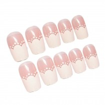 Modern Style Pink&White Artificial False Nails Tips Fake Nails Decoration 2 Box