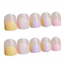 Nail Art Pink Mauve Short Round Artificial False Nail Tips Fake Nails Decoration