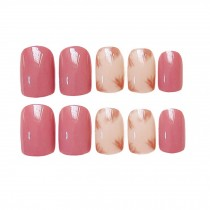 Nail Art Short Artificial False Nail Tips Nails Decoration Russet-red Shading