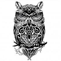 Cool Owl Pattern Tattoos Body Tattoo Stickers Waterproof Temporary Fake Tattoos