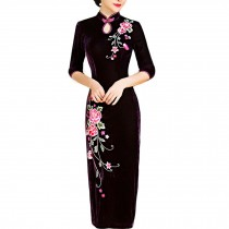 Mandarin Collar Cheongsam Chinese Traditional Dress Qipao Dress Velvet Dress