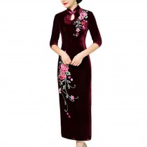 Thin Velvet Dress Mandarin Collar Long Cheongsam Chinese Traditional Dress Qipao
